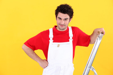Decorator with a stepladder