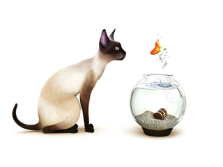 Fish jumping out of a fish bowl in front of a cat.