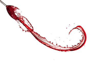 Red wine splashing out of glass, isolated on white