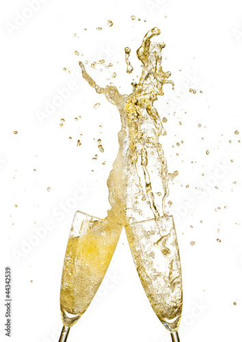 Splashing champagne out of glasses