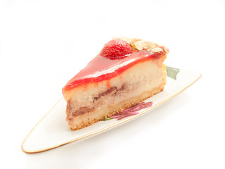 English style Cheesecake with strawberry isolated on white