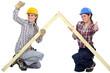Female carpenters rejoicing