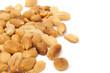 Roasted Peanuts on White Background