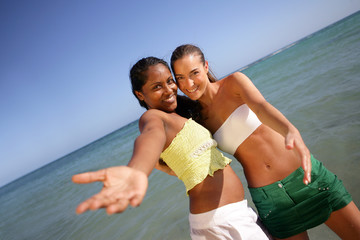 Young women on holiday together