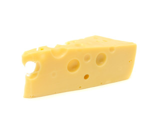 Chunk of Cheese Isolated on White Background