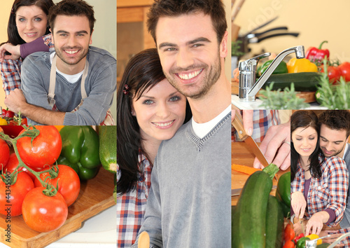 Couple preparing vegetables in kitchen