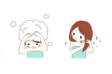 頭を洗う女の子
