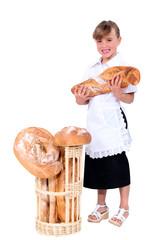 Little girl pretending to be baker