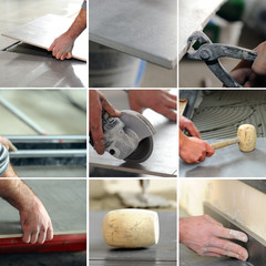 Montage of tiler at work