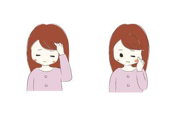 頭が痛い女の子