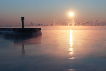 Winter sea fog