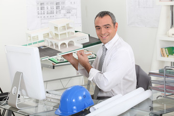 Architect sat in private office