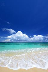 南国の美しいビーチに打ち寄せる白い波