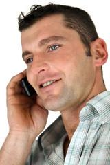 Closeup of a man using a cellphone