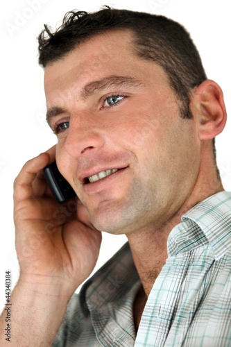 Closeup of a man using a cellphone