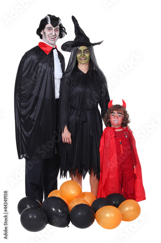 Family in Halloween costume