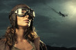 Leinwanddruck Bild - Woman aviator: fashion model portrait