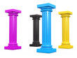 CMYK Columns 3d render illustration