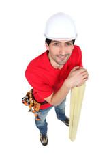High-angle shot of a carpenter
