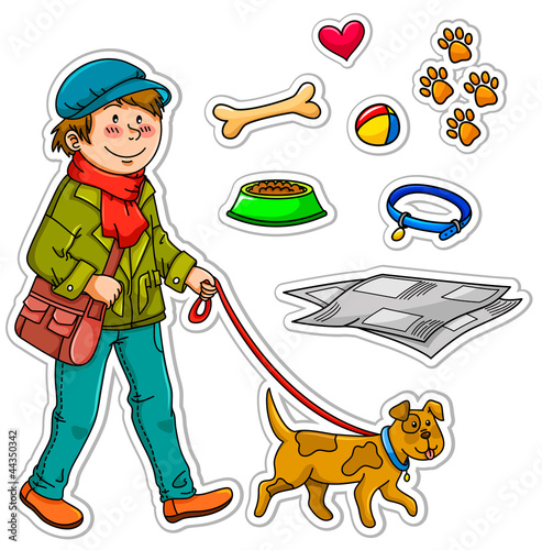 boy and his dog plus a set of related objects