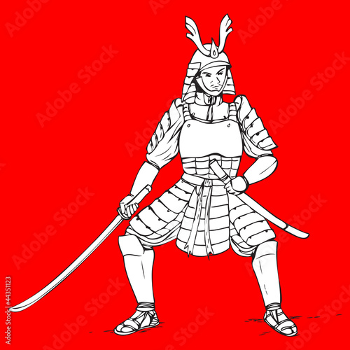 Hand drawn illustration of a samurai