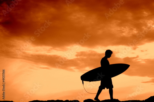 Sunset Surfer With Copy Space