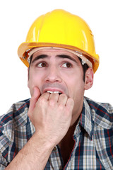 Frightened builder