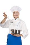Female cook preparing a genuine recipe poster
