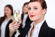 Businesswomen with champagne