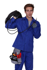 electrician with wire