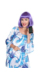 Woman with purple wig showing phone