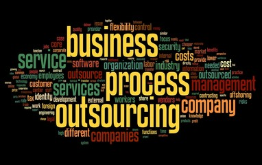 Business process outsourcing concept in word tag cloud