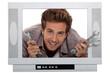 man poking his head through a mock up TV set