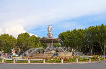 fountain at La Rotonde at sunset, Aix-en-Provence, France