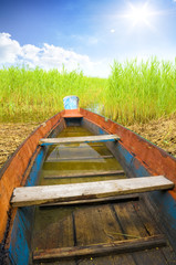 Wooden boat in cane