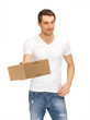 handsome man with box