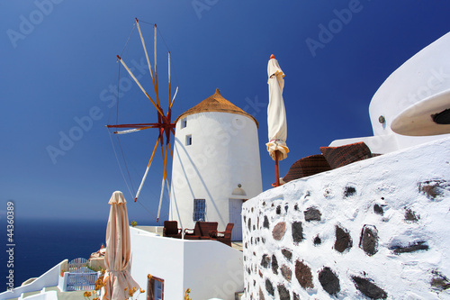 Santorini with windmill in  Greece