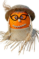Pumpkin Headed Scarecrow on White