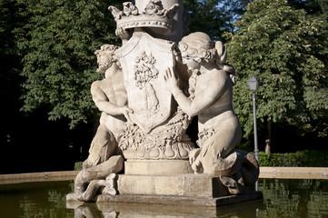 Detail of Artichoke Fountain, Retiro Park, Madrid, Spain