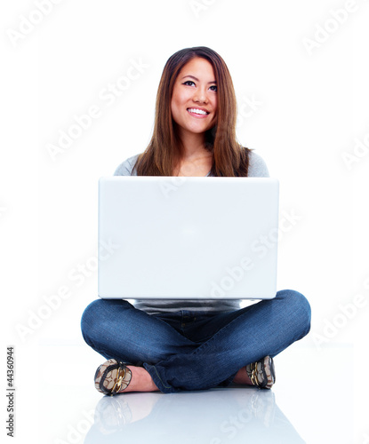 Student with laptop computer.