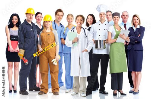 Leinwanddruck Bild Group of industrial workers.