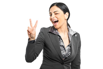 Smiling woman gesturing victory sign