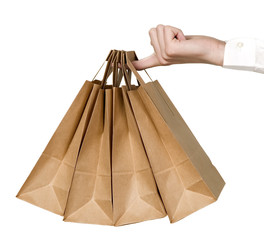 Many organic green paper bags