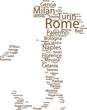 100 Italy's largest cities on the map