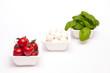 Rote Tomaten, Mozzarella und Basilikum
