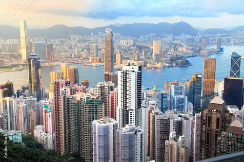 Deurstickers Hong-Kong hong kong, coucher de soleil
