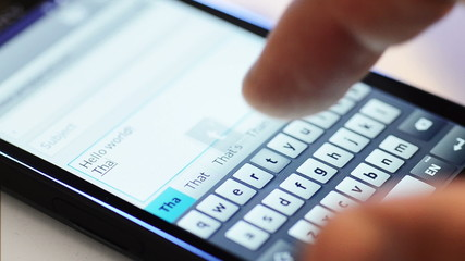 typing on touch screen smartphone