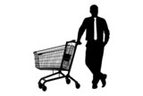 Silhouette of man with empty pushcart