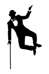 Silhouette of a man in suit holding a cane and dancing