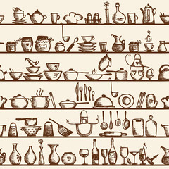 Kitchen utensils on shelves, sketch seamless pattern
